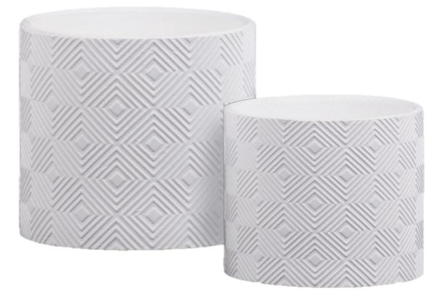 WHITE DIAMOND LATTICE POTS
