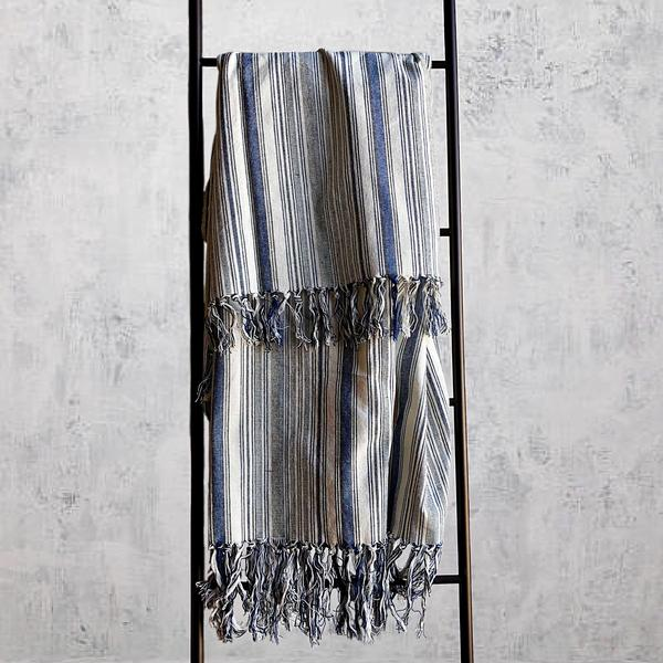 AKHA STRIPE THROW BLUE/CREAM | THROWS