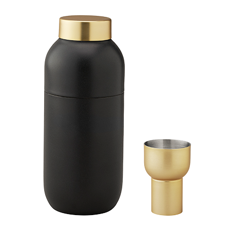 BLACK & BRASS DANISH COCKTAIL SHAKER & JIGGER