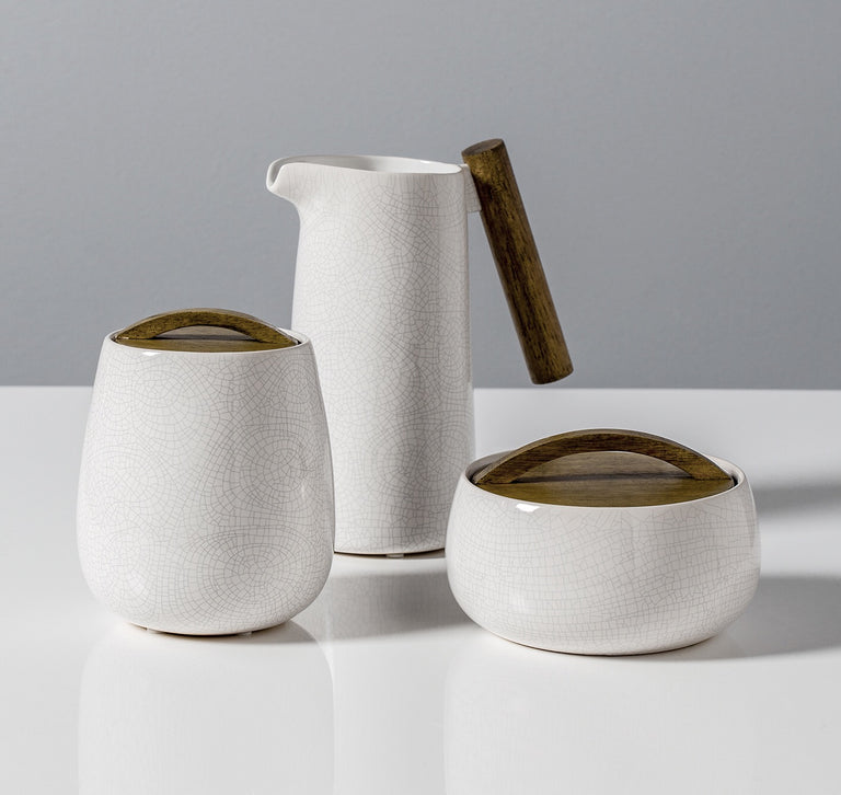 BASALT CRACKLE GLAZE CANISTER WITH WOODEN LID - WIDE | CONTAINER