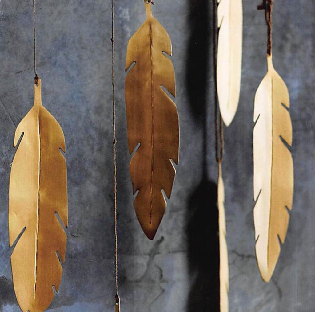 BRASS FEATHER ORNAMENTS
