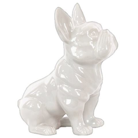 FRENCH BULLDOG, WHITE 9""