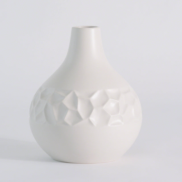 "WHITE HONEYCOMB VASE 11"" (FROM PORTUGAL)"