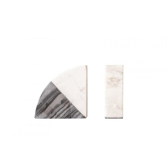 WHITE & GREY MARBLE BOOKENDS