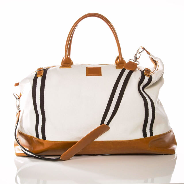 WHITE CANVAS STRIPED WEEKENDER