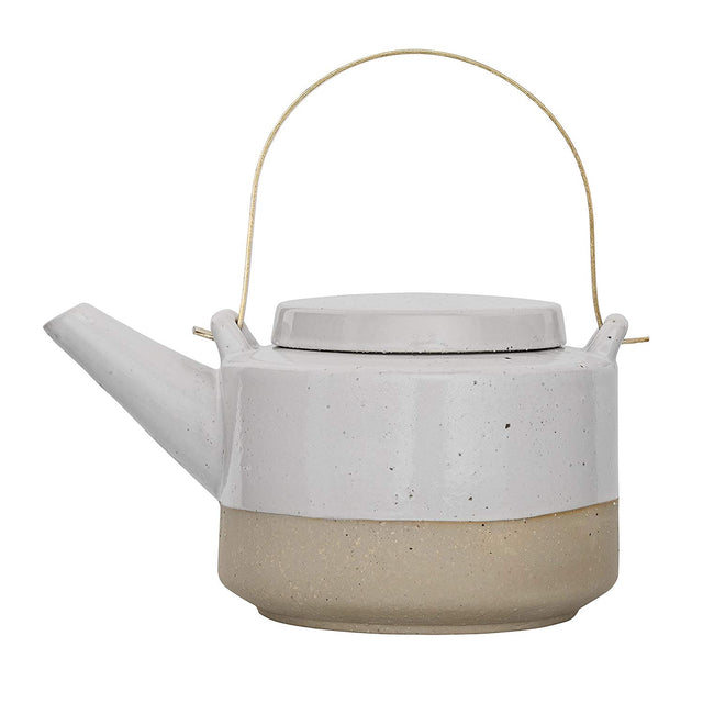 WHITE & EARTHENWARE TEAPOT