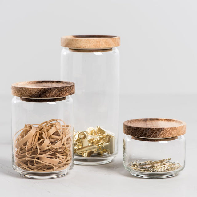 ACACIA LID GLASS CANISTERS
