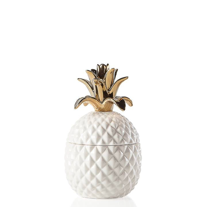 WHITE CERAMIC PINEAPPLE JAR WITH GOLD CROWN