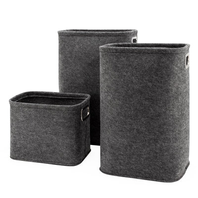 DARK GREY FELT LAUNDRY TOTES