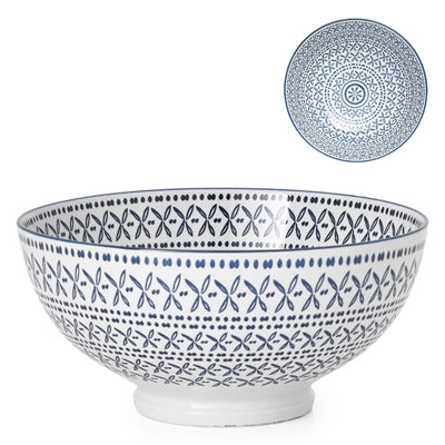 KIRI BLUE STITCH PORCELAIN BOWLS | DINING & ENTERTAINING