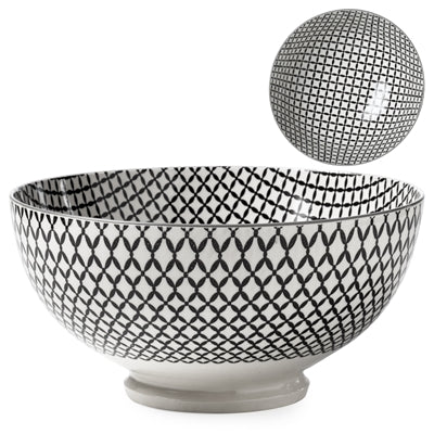 KIRI BLACK WICKER WEAVE PORCELAIN BOWLS