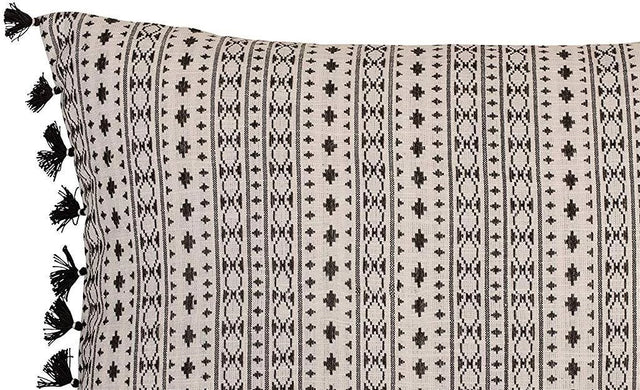 BLACK/WHITE WOVEN LUMBAR PILLOW W/ TASSELS