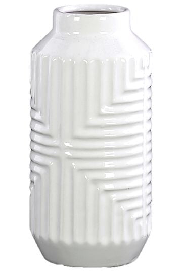 WHITE DECO WIDE VASES