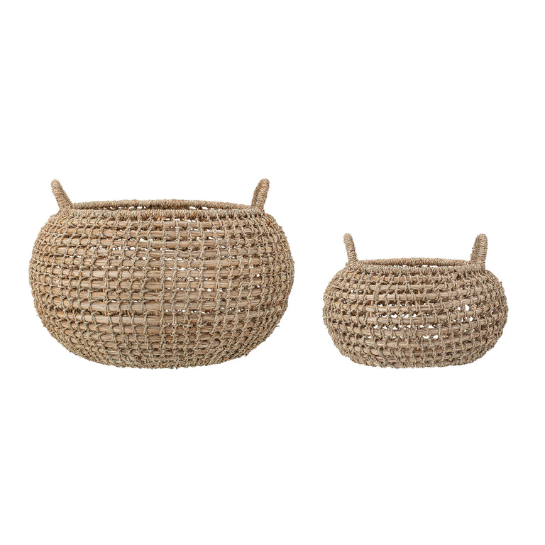 SEAGRASS HANDLED NATURAL BASKET SET