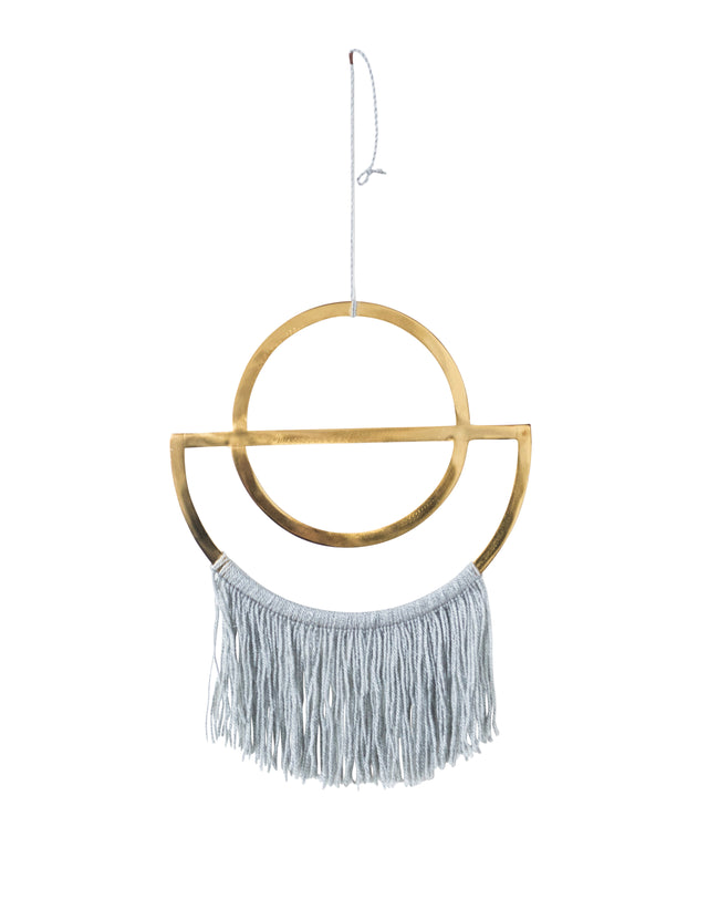 BRASS & GREY FRINGE WALL DÉCOR
