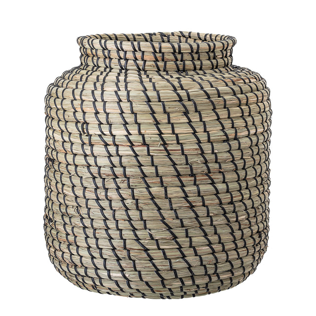 BLACK & NATURAL SEAGRASS JAR BASKET