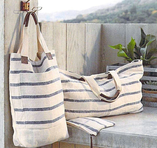 WASHED LINEN STRIPED DEEP TOTE BLUE 19""