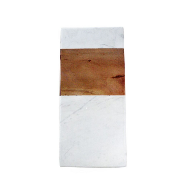 WHITE MARBLE AND ACACIA RECTANGLE BOARD