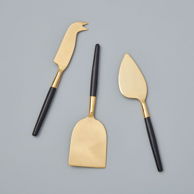BLACK & GOLD CHEESE CUTTING SET