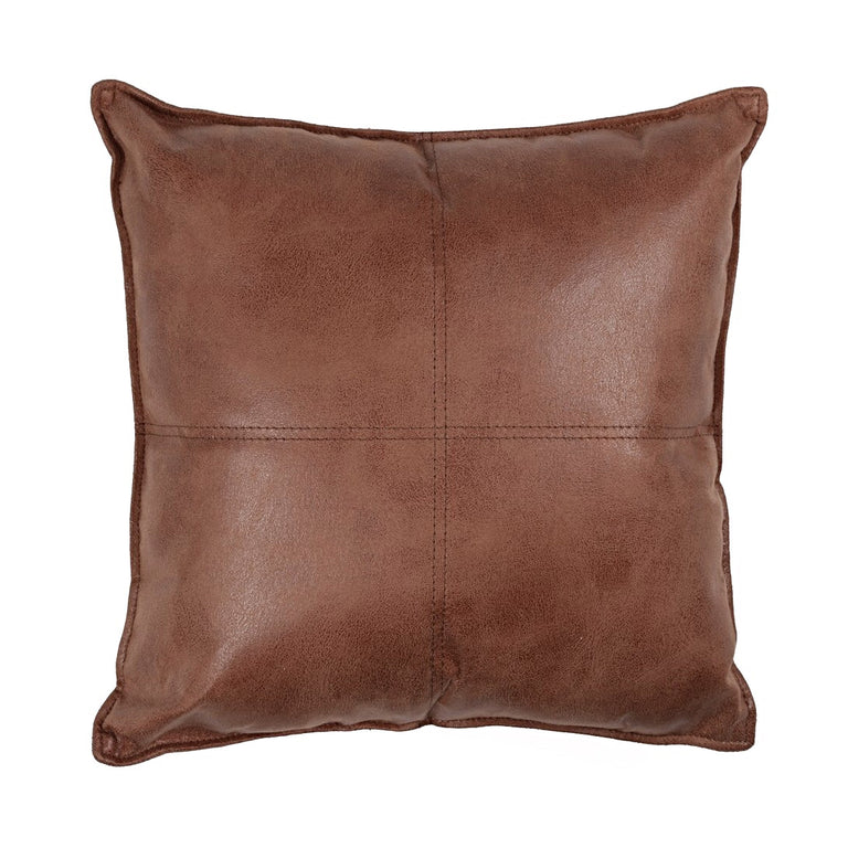 MAVERICK VEGAN LEATHER THROW PILLOW - CARAMEL