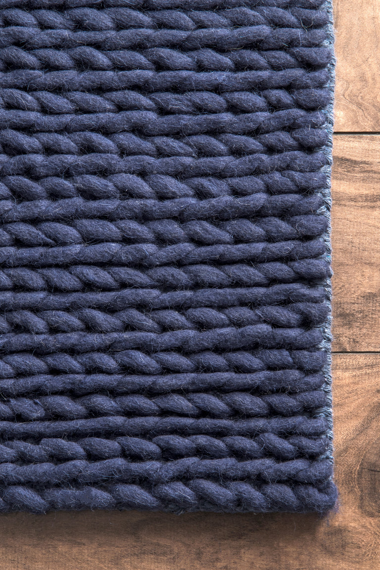 CHUNKY CABLE HANDWOVEN NAVY ( 3 ) | RUGS