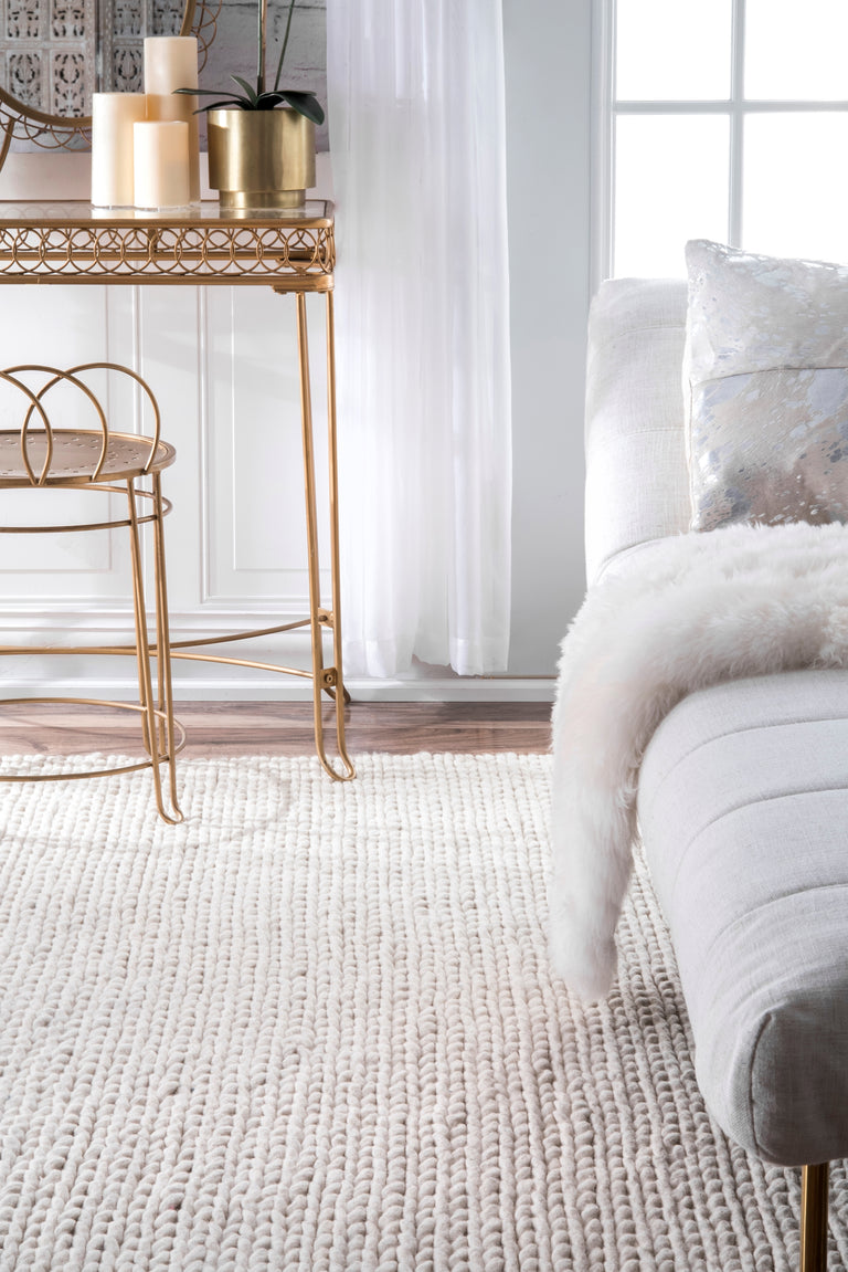 CHUNKY CABLE HANDWOVEN IVORY ( 3 ) | RUGS