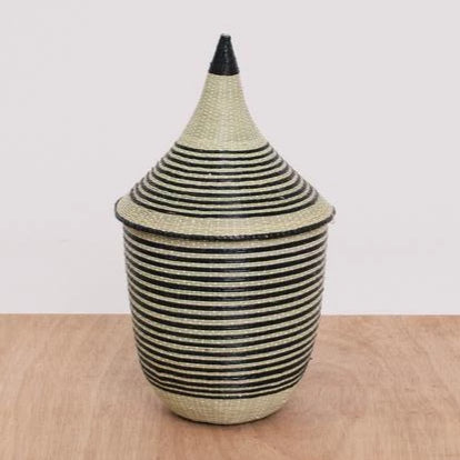 "HUYE STRIPED SMALL CATHEDRAL BASKET 9"" (RWANDA)"