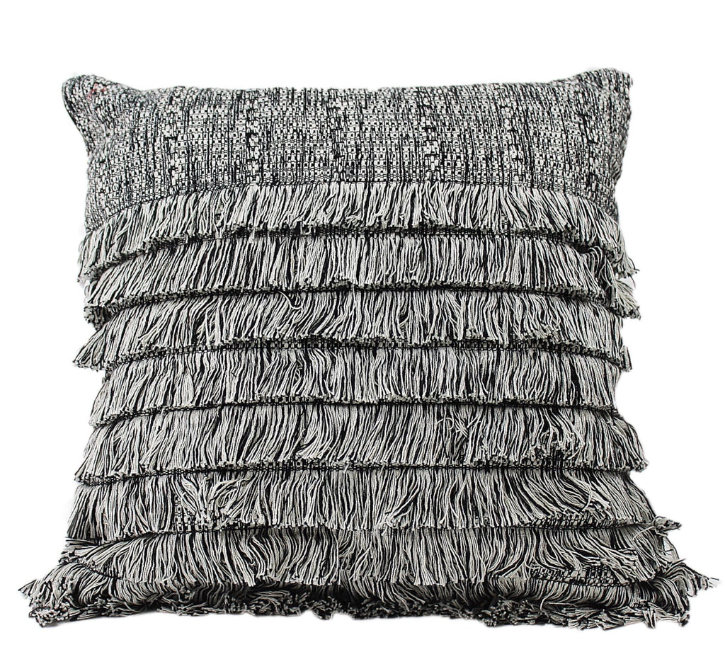 GREY COTTON FRINGE PILLOW <br>(FROM GUATEMALA)
