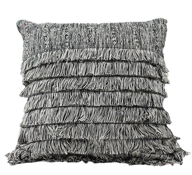 GREY COTTON FRINGE PILLOW