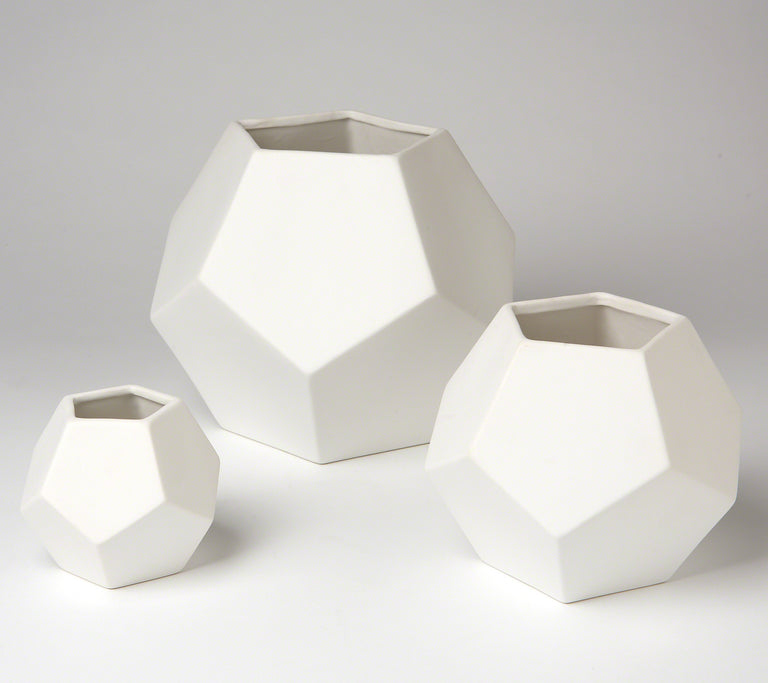 WHITE FACETED VASES