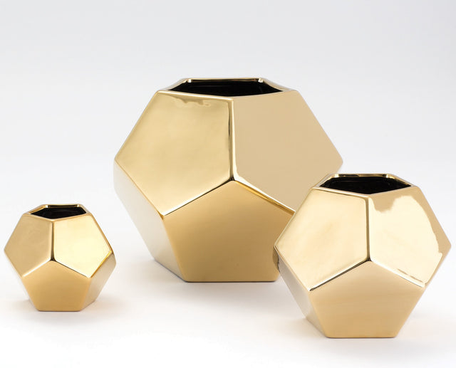 GOLD FACETED VASES