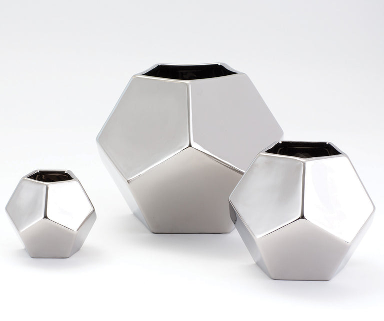 SILVER FACETED VASES