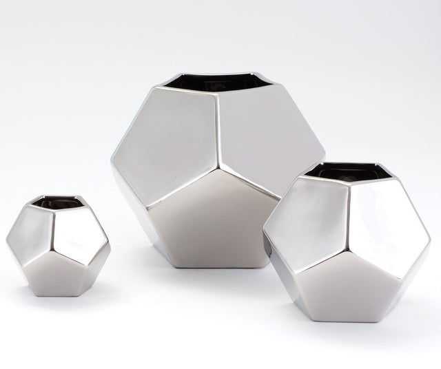 SILVER FACETED VASES | VASES