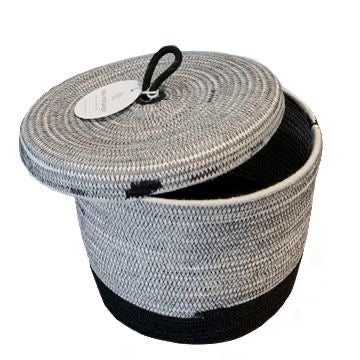 LIQUORICE COTTON LIDDED BASKET (SOUTH AFRICA)