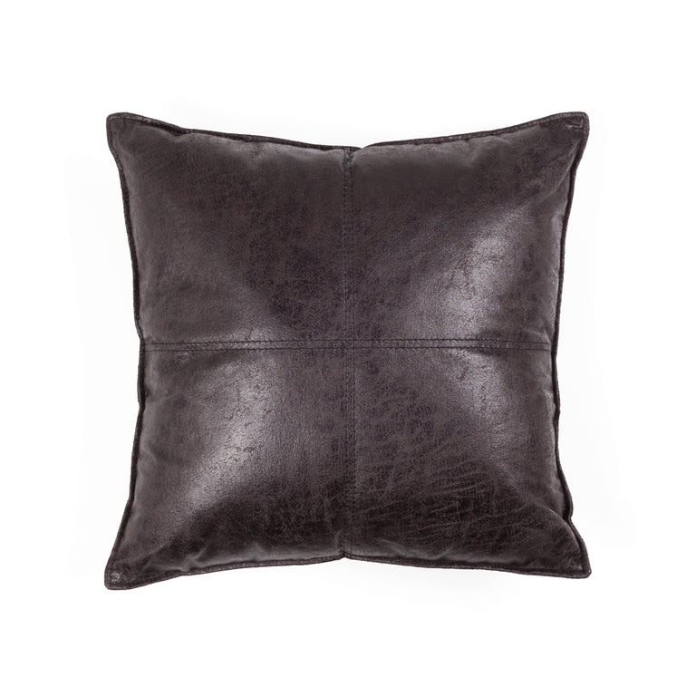 MAVERICK VEGAN LEATHER THROW PILLOW - ESPRESSO