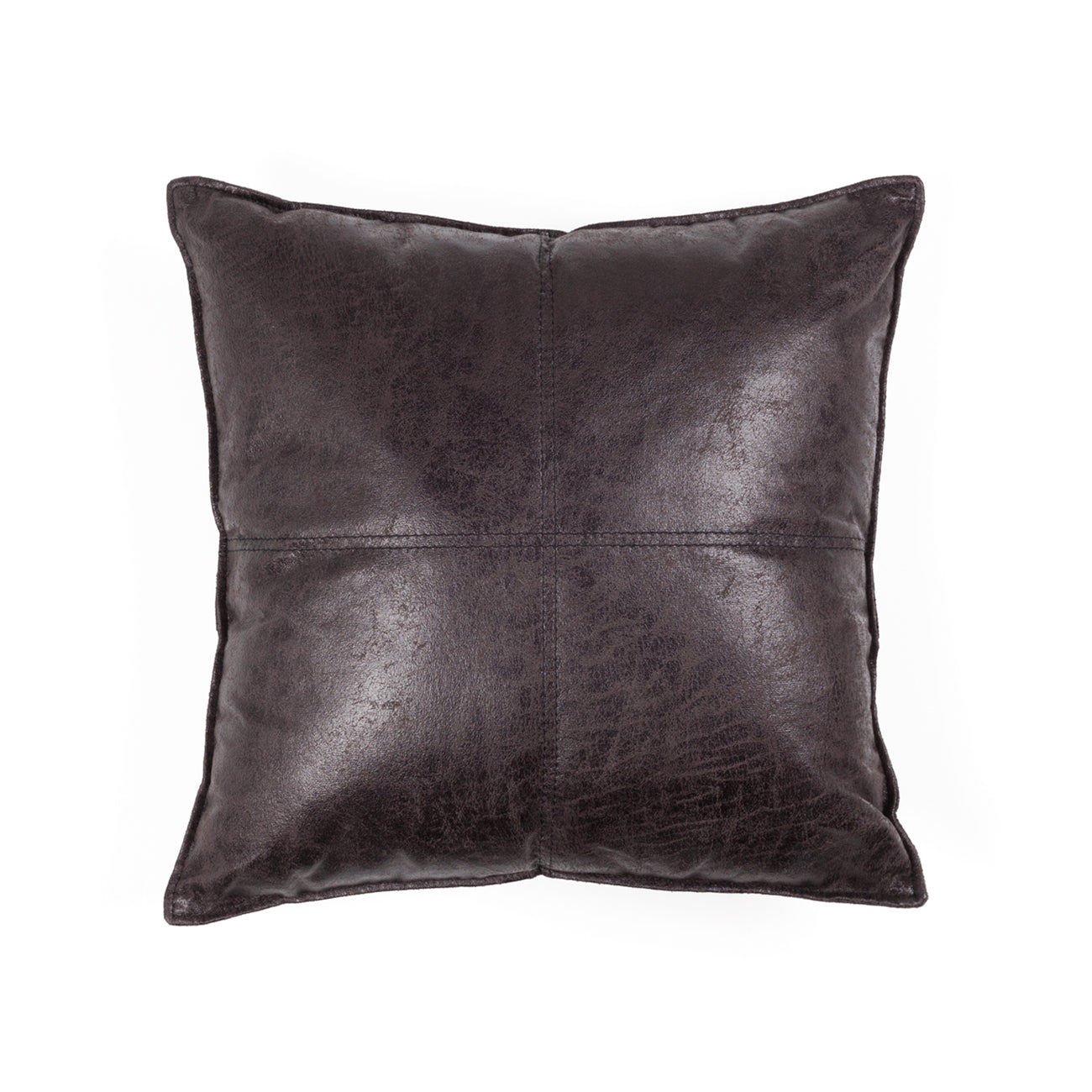 MAVERICK VEGAN LEATHER THROW PILLOW - MOCHA