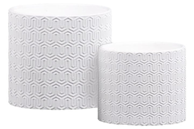 WHITE GEO LATTICE POTS