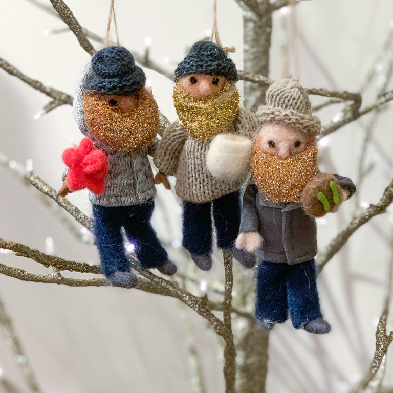 FELT HOLIDAY HIPSTERS ORNAMENTS