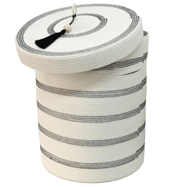 IVORY COTTON LIDDED STRIPED BASKET (SOUTH AFRICA)