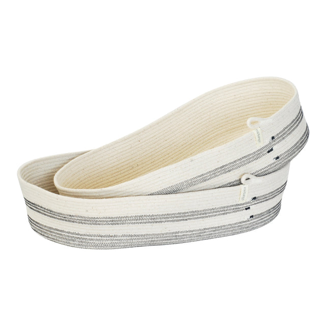 IVORY COTTON OVAL STRIPED BASKETS (SOUTH AFRICA)