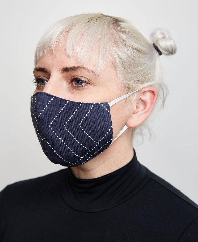NAVY STITCHED FACE MASK