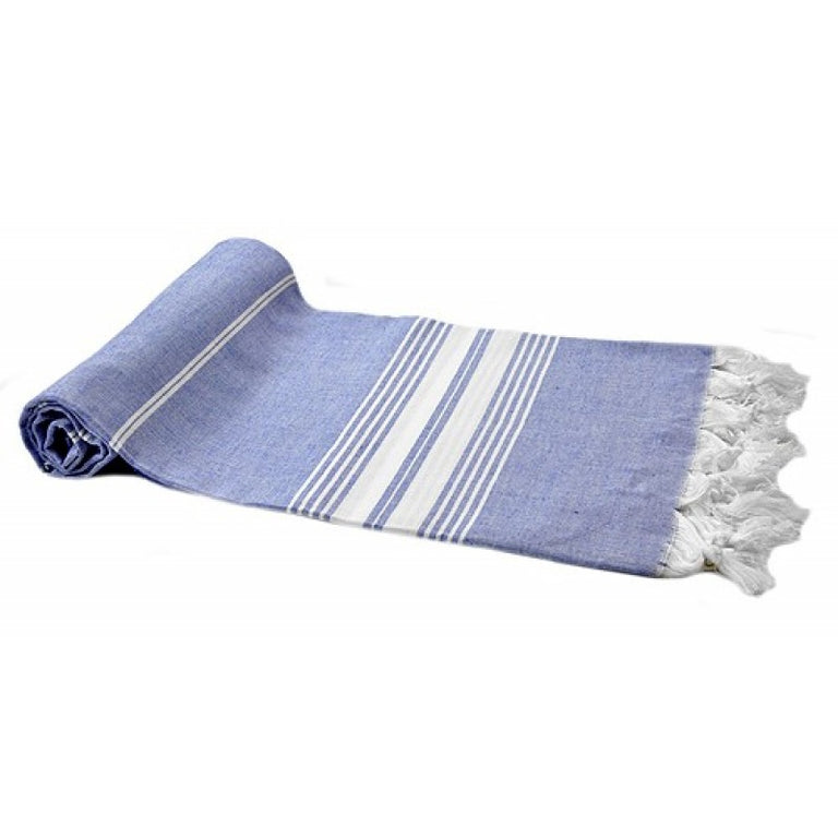 COTTON PESHTEMAL INDIGO STRIPE ON ECRU
