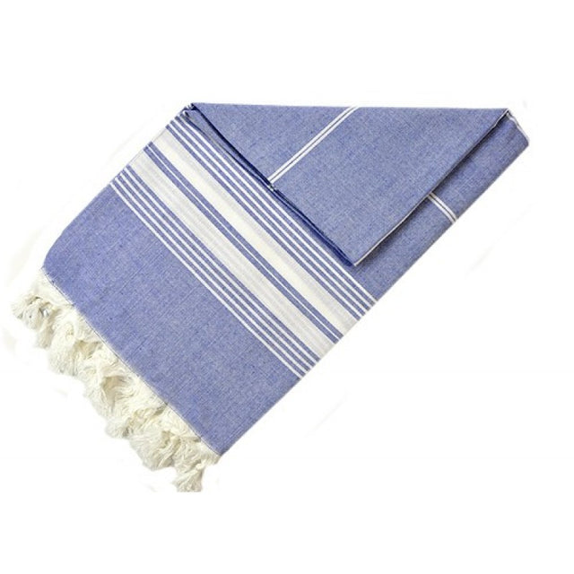 COTTON PESTEMAL INDIGO STRIPE ON ECRU