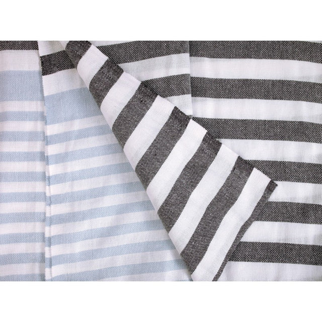 COTTON PESHTEMAL SKY & CHARCOAL STRIPES