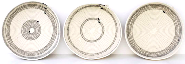 IVORY COTTON STRIPED TABLE BASKETS (SOUTH AFRICA)