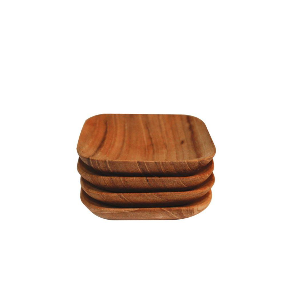 TEAK TINY SQUARE PINCH BOWL SET OF 4