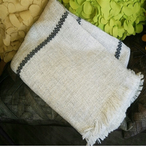 AREQUIPA STRIPE GREY & IVORY THROW (PERU) | THROWS