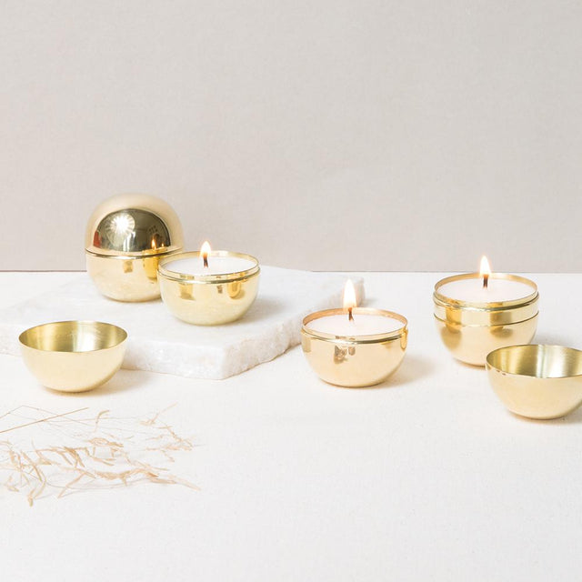 BRASS SPHERE TRAVEL CANDLES (SET OF 4)