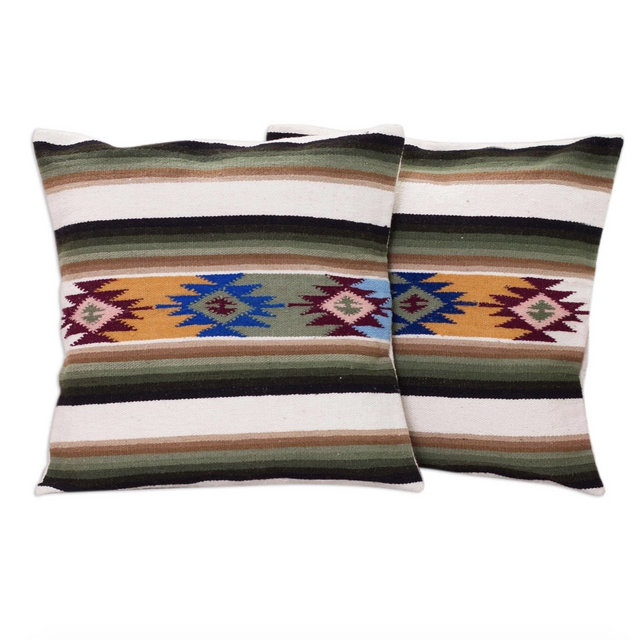 EMERALD GREEN SUNSET TEMPLE PILLOW (PERU)