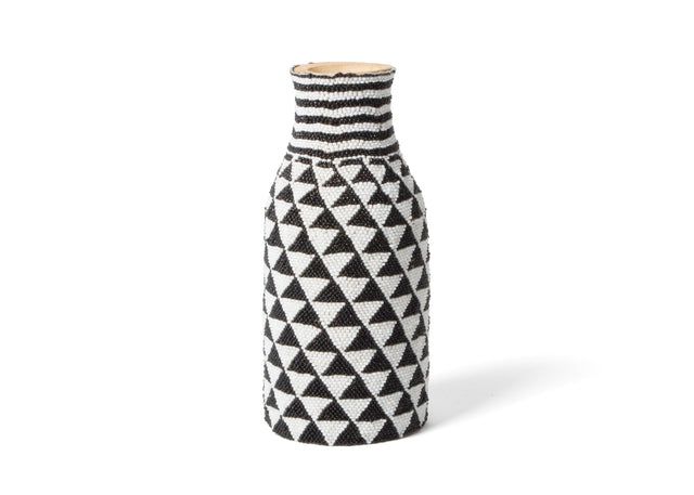"BLACK & WHITE BEADED BUD VASE 8"" (FROM RWANDA)"